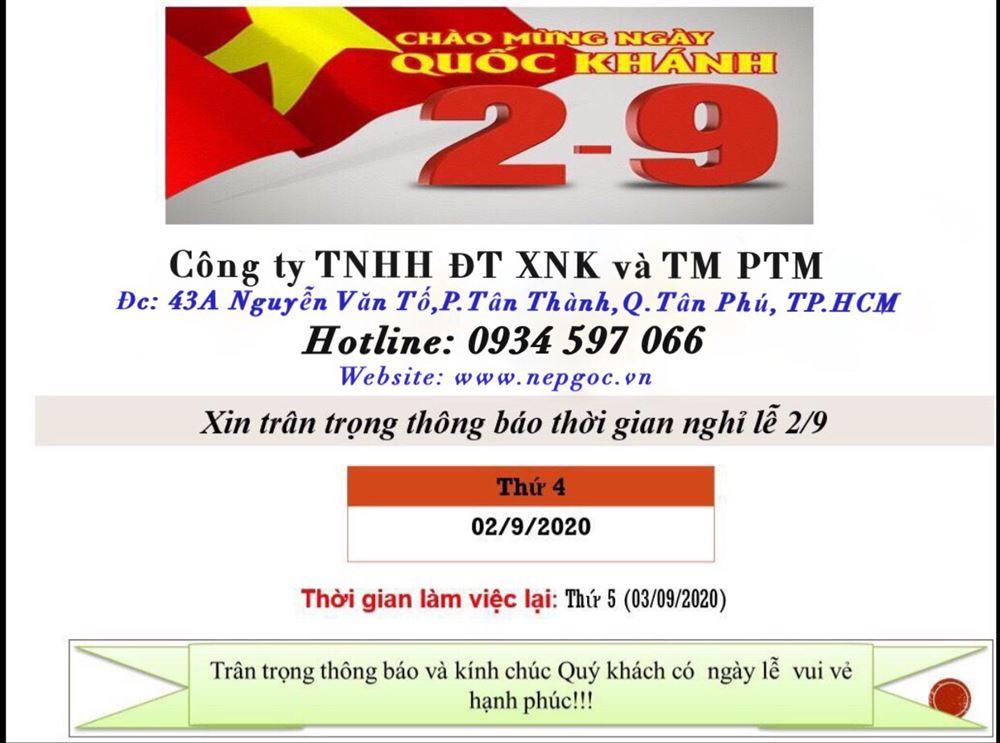Công ty TNHH Đầu Tư XNK và Thương Mại PTM xin thông báo lịch nghỉ lễ 2/9/2020