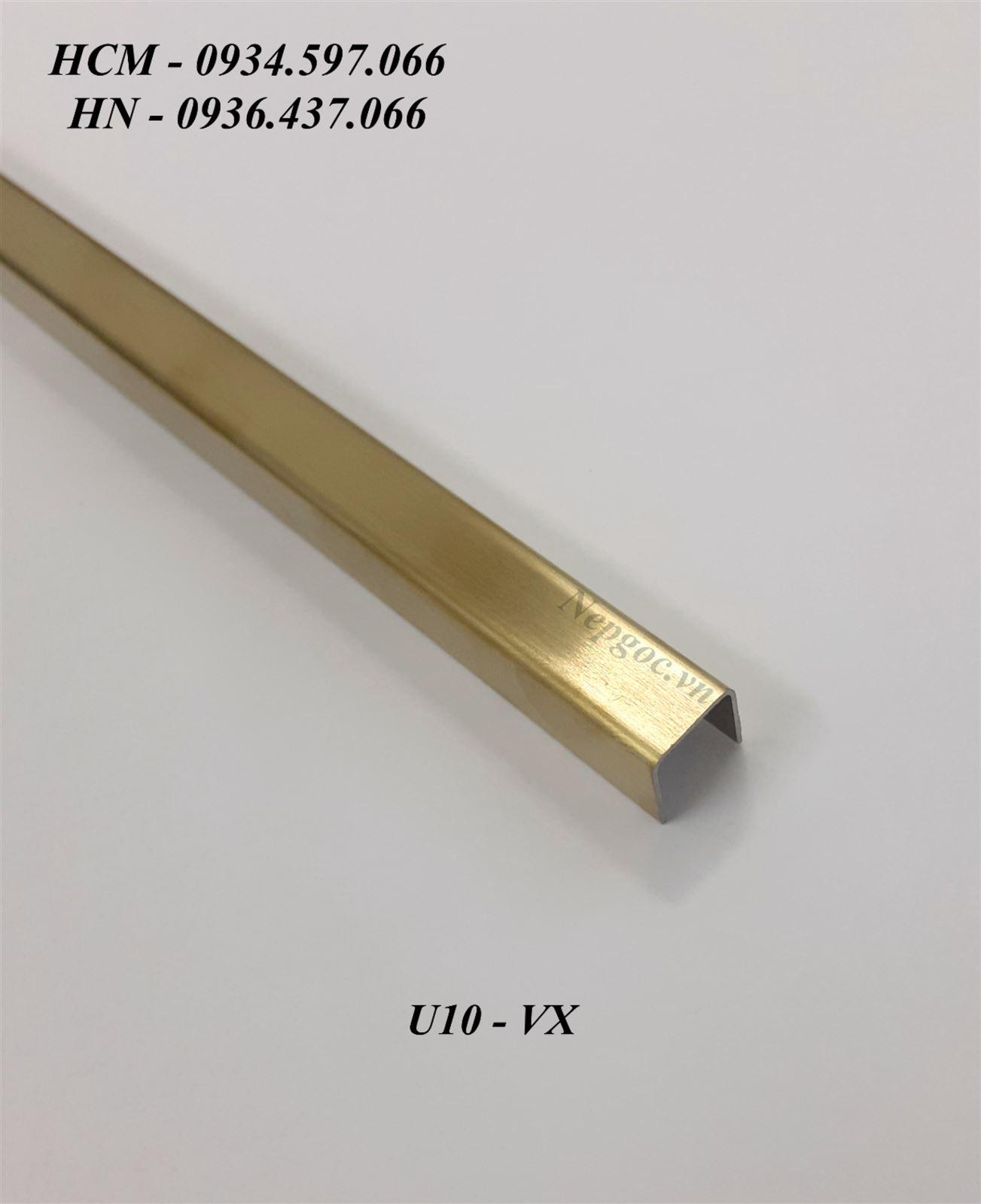 Nẹp Inox U10mm vàng xước
