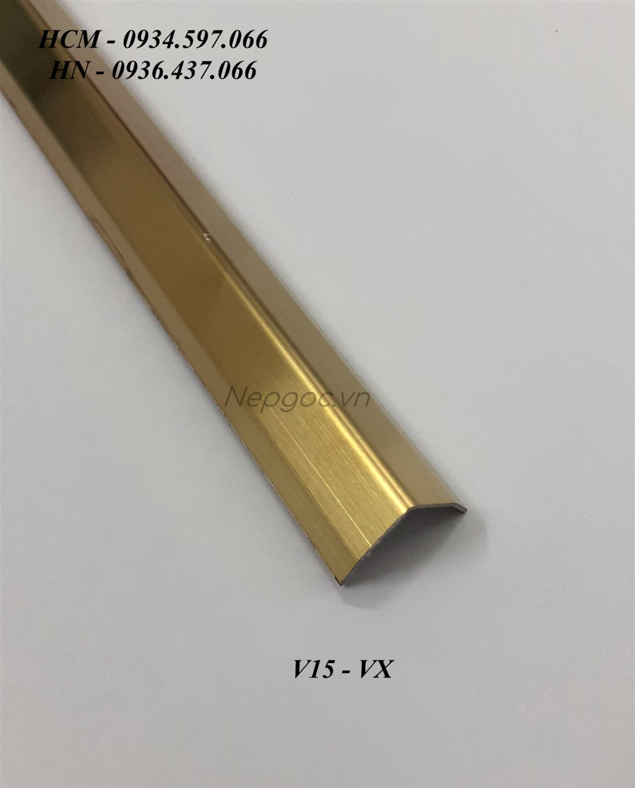 Nẹp Inox V15x15mm màu vàng xước