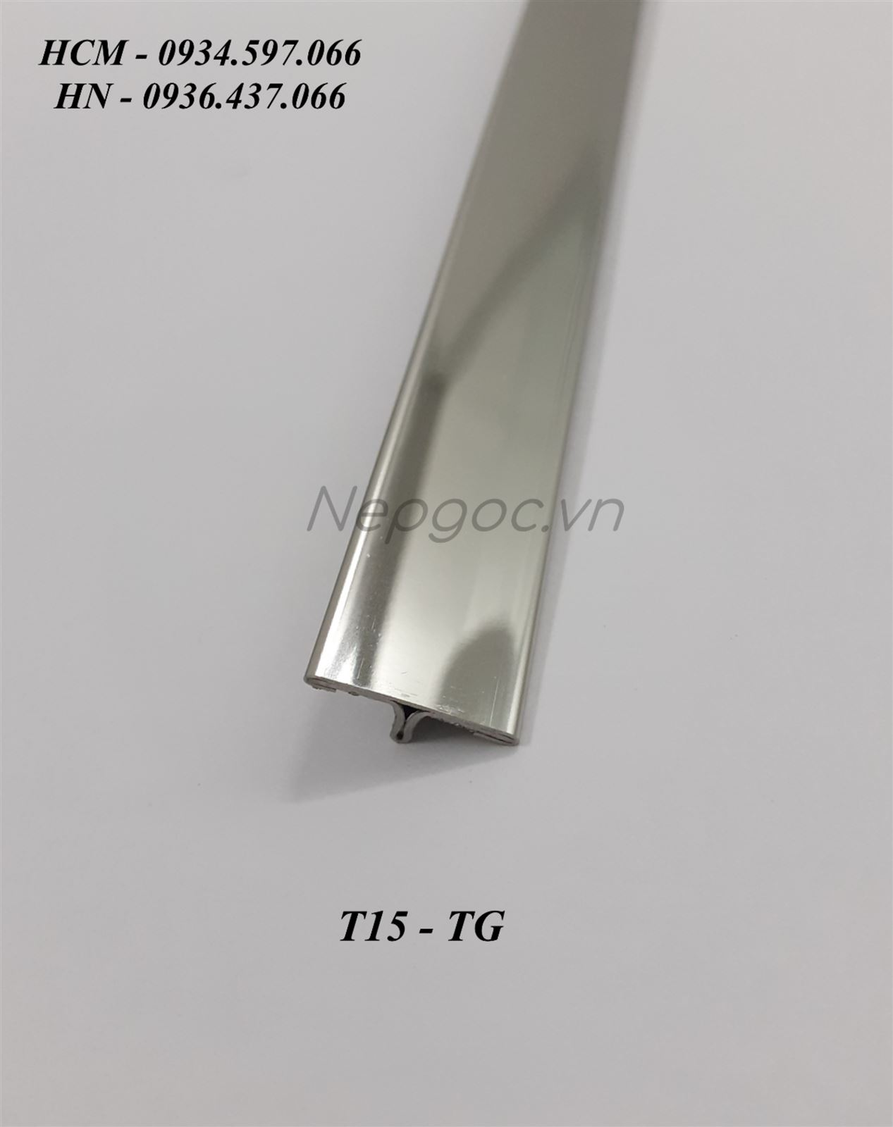 Nẹp Inox T15mm trắng gương