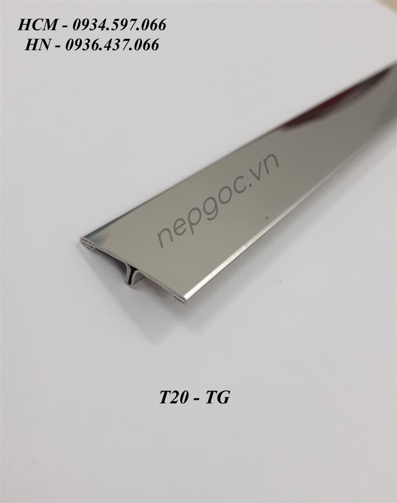 Nẹp Inox T20mm trắng gương