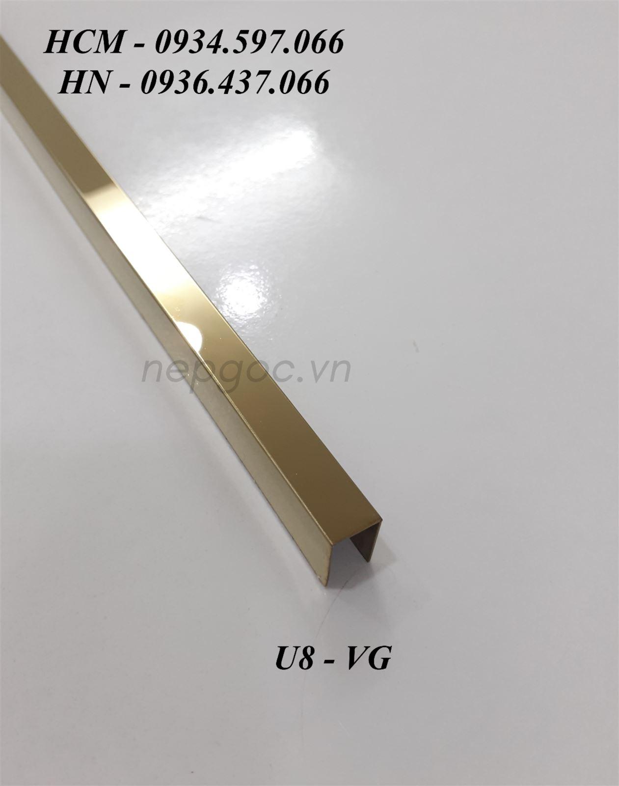 Nẹp Inox JECA U10x8x10mm màu vàng gương