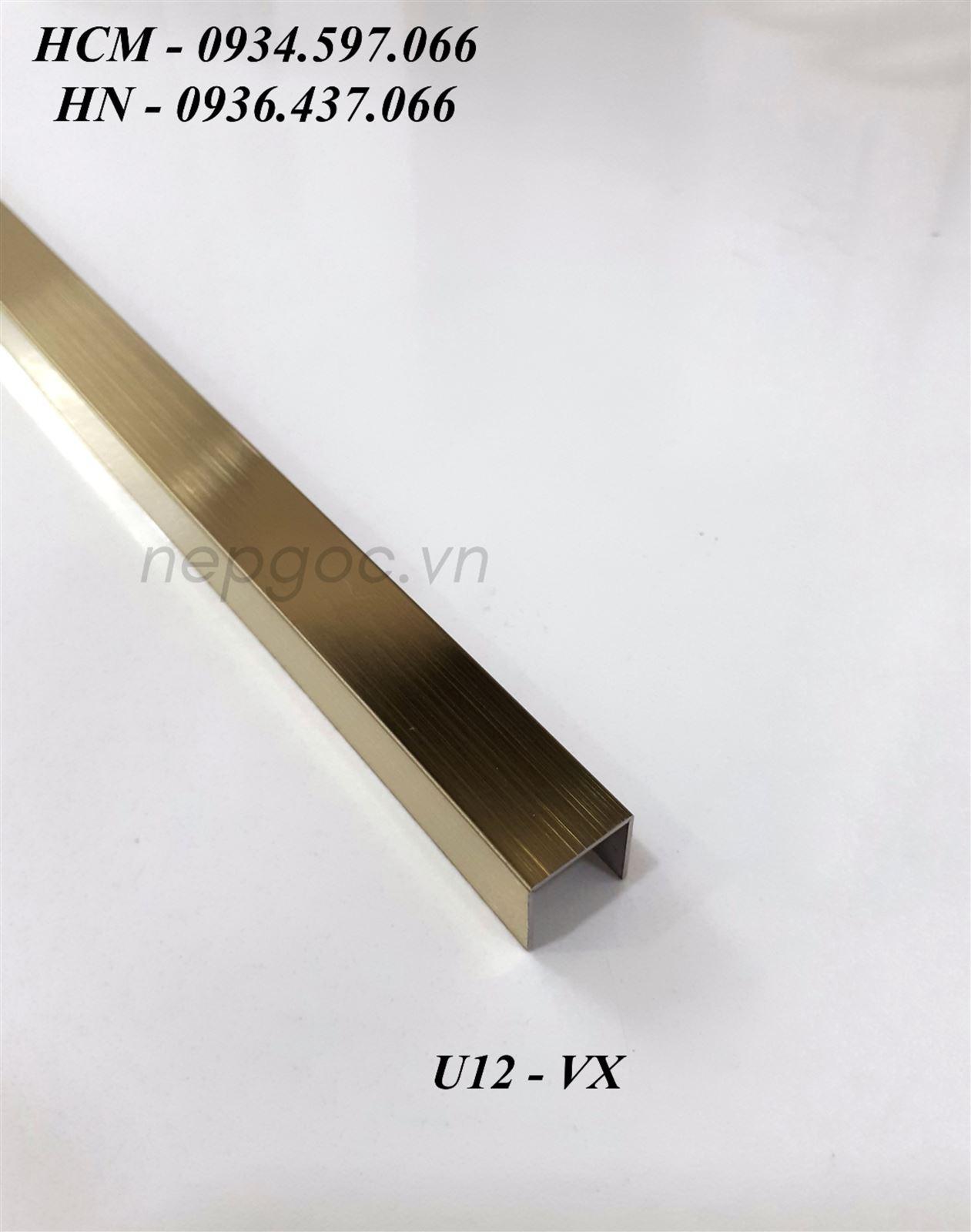 Nẹp Inox JECA U10x12x10mm màu vàng xước