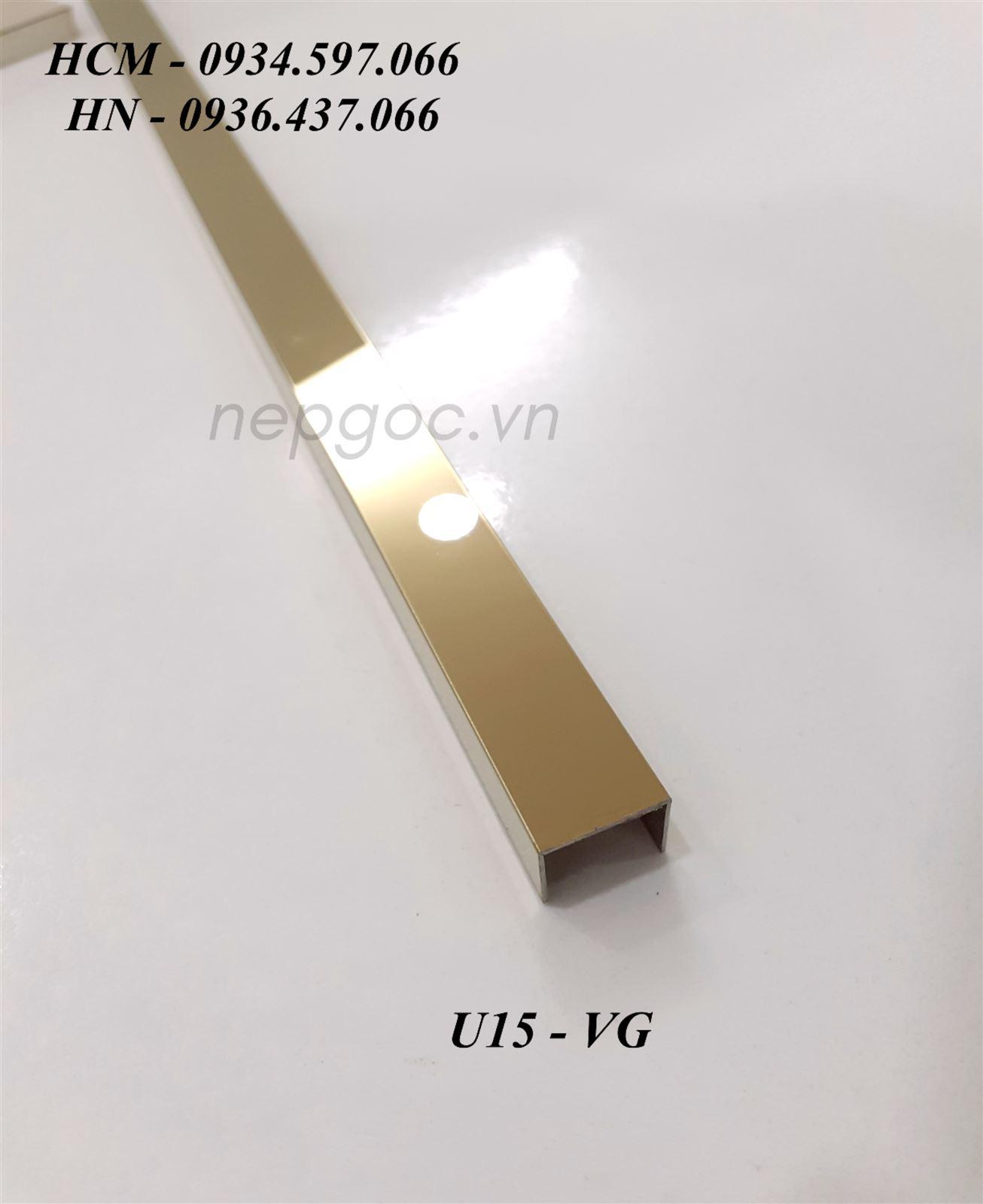 Nẹp Inox JECA U10x15x10mm màu vàng xước