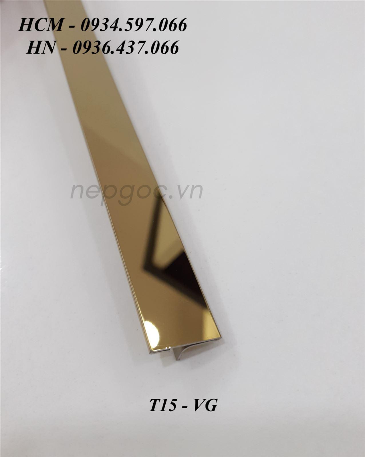 Nẹp Inox JECA T15mm vàng gương