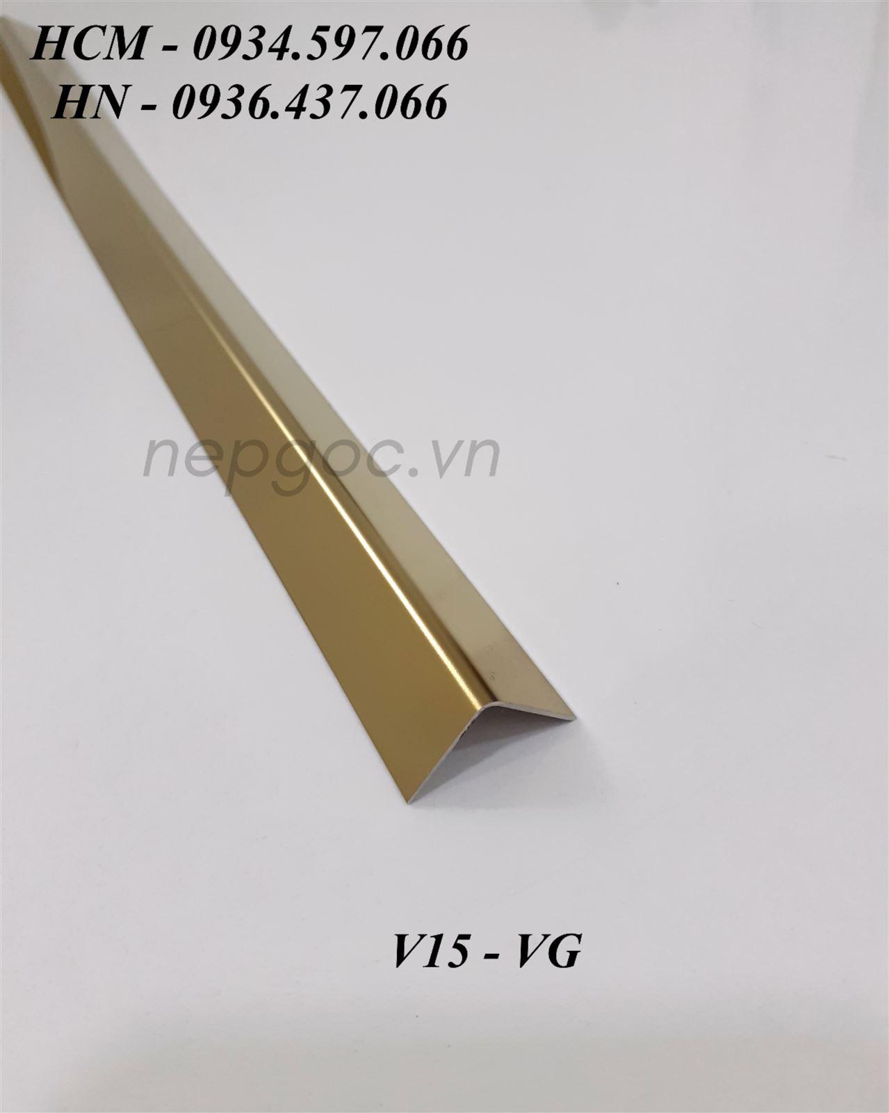 Nẹp Inox JECA V15mm màu vàng gương
