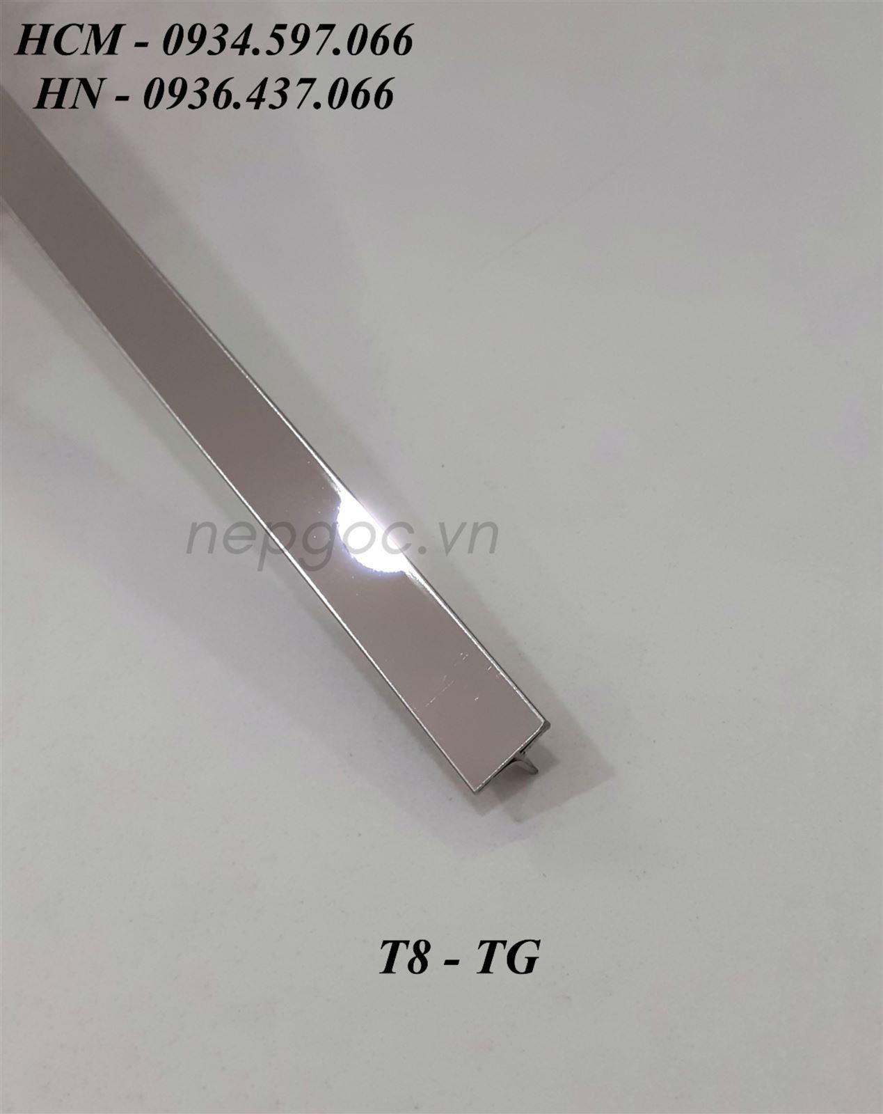 Nẹp Inox JECA T8mm trắng gương